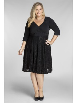 All Star Special Katherine Plus Size Dress in Black Lace